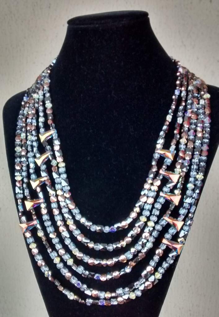 Keystone and Mini Beads multi strand necklace