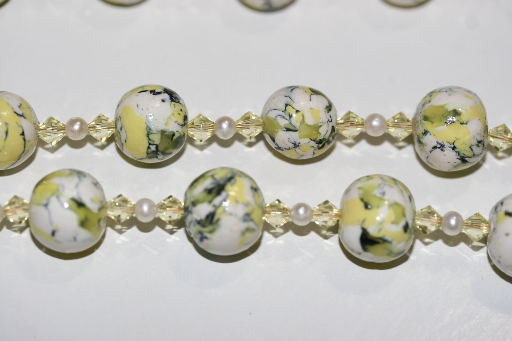 Polymer clay beads mixed with Jonquil bicone and Swarovski pearl